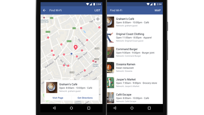 Facebook can now tell you where to find the nearest wifi.